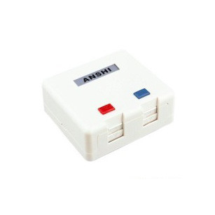 2 Port Surface Mount Box For RJ45 Module , Surface Mount Cat6 Box With Dust Protection