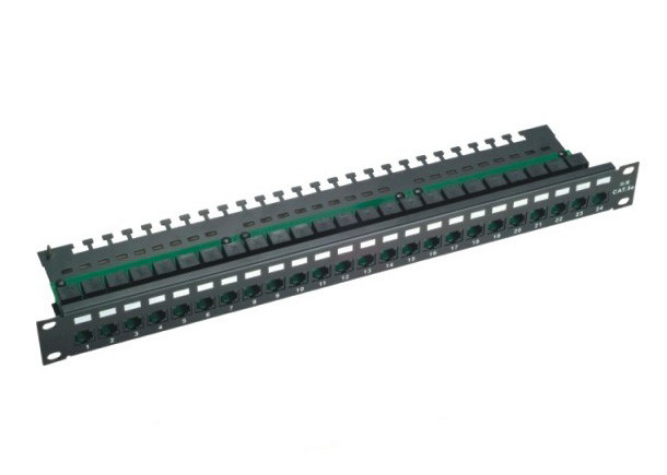 Black 24 Port Cat5e Patch Panel , UTP  Unshielded Patch Panel For Networking