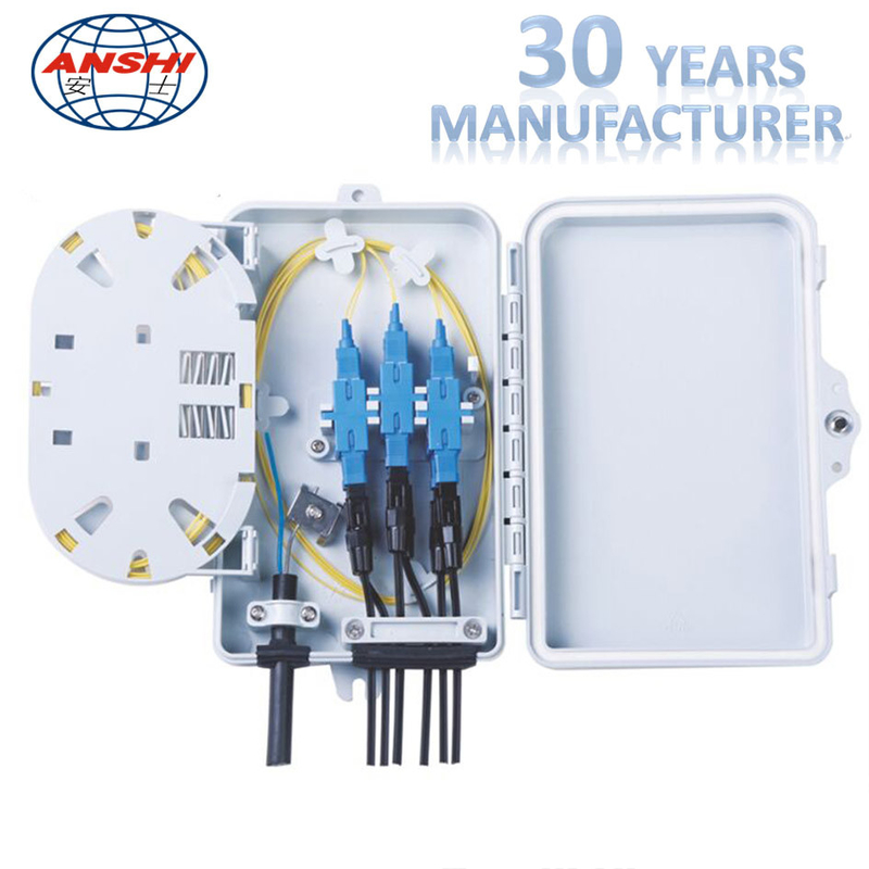 4 Cores 6 Cores FTTH Distribution Box Wall Mount With Screw Lock White Color