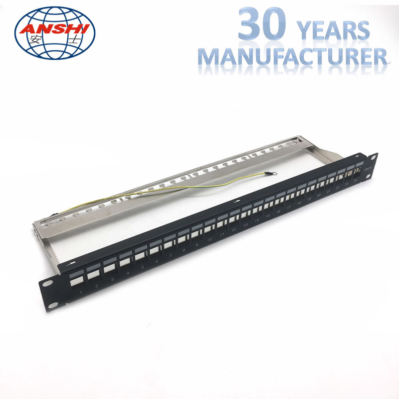 Unloaded Blank Rack Mount Patch Panel STP Shielded Network Patch Panel Modular Type